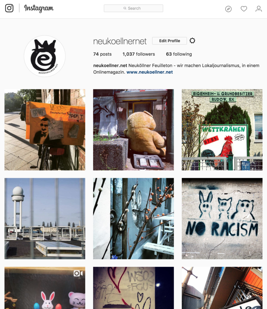 Instagram Channel für den Blog Neukoellner.net